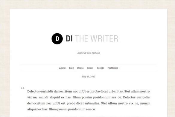 Di the Writer is a free WordPress Theme
