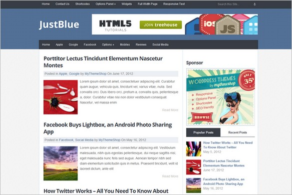 JustBlue Free WordPress Theme