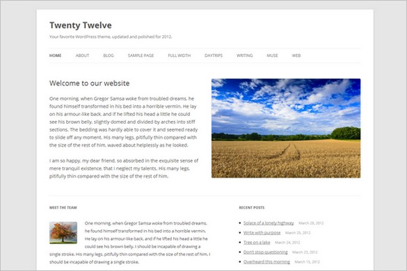 Twenty Twelve is a Free WordPress Theme