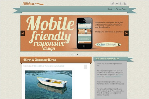 iRibbon is a free WordPress Theme by CyberChimps