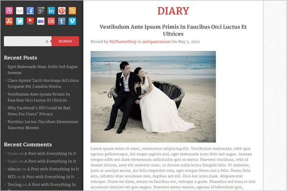 Diary is a free WordPress Theme by MyThemeShop