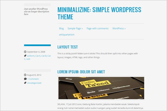 Minimalizine is a free WordPress Theme