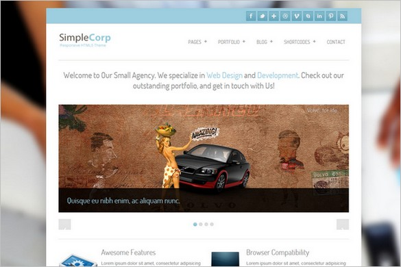 SimpleCorp is a free Portfolio WordPress Theme by Site5