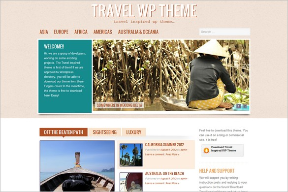 Travel Inspired is a free WordPress Theme