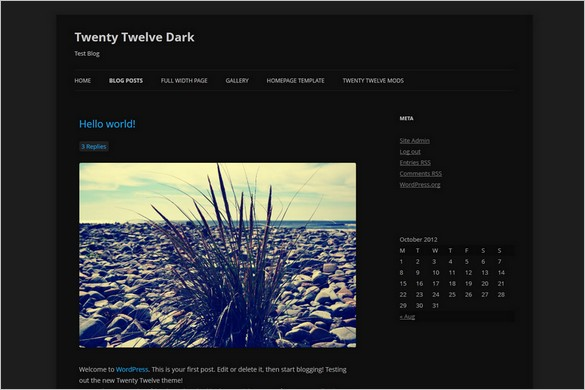 Twenty Twelve – Dark Child Theme is a free WP Theme