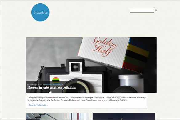 ShutterLoop is a free photography WordPress Theme