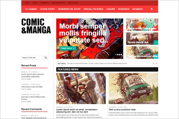 Comic & Manga is a free WordPress Theme by WPDance