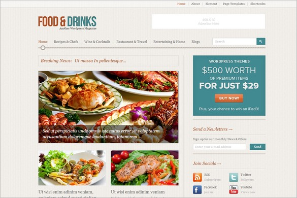 Foodmag is a free WordPress Theme by WPDance