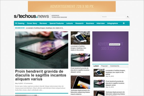 Tech News is a free WordPress Theme by WPDance