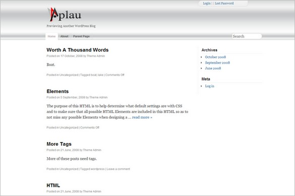 Aplau is a free WordPress Theme