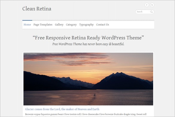 Clean Retina is a free Retina ready WordPress Theme