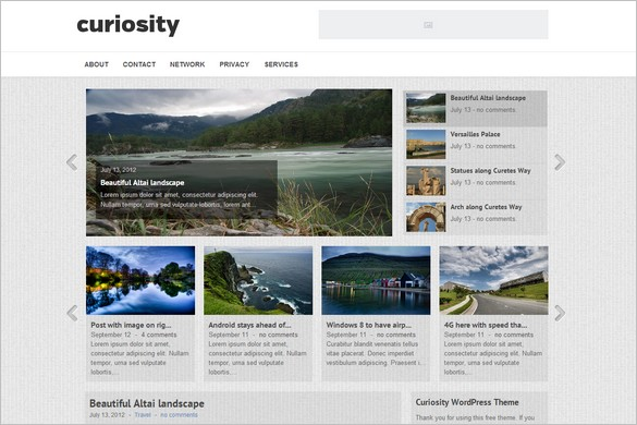 Curiosity is a Free WordPress Theme from gazpo.com