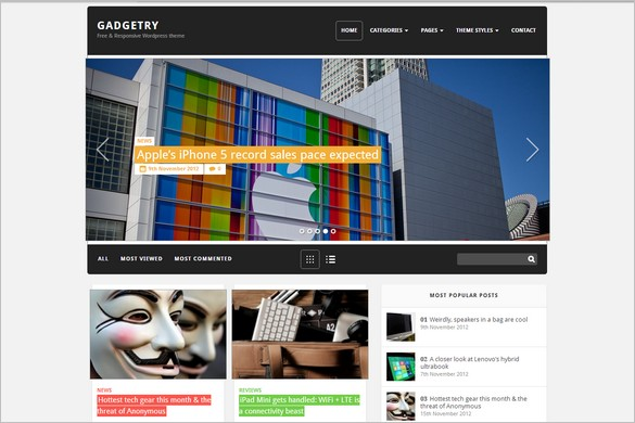 Gadgetry is a free WordPress Theme by Themefuse