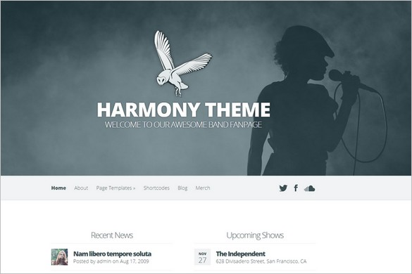 Harmony is a Band and Music WordPress Theme by ElegantThemes