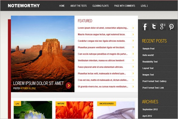 Noteworthy is a free WordPress Theme