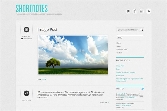 Shortnotes is a free WordPress Theme