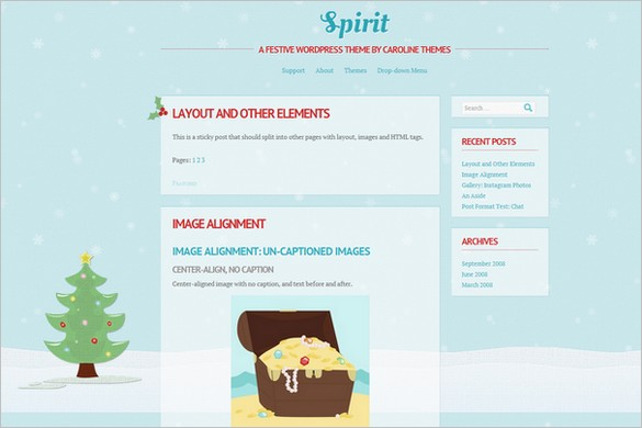Spirit is a free Holiday WordPress Theme