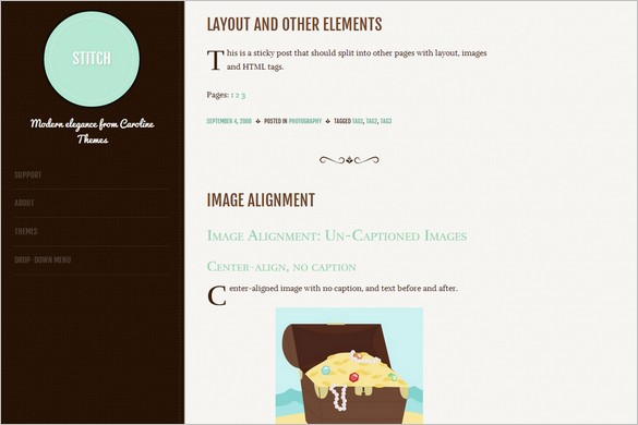 Stitch is a free WordPress Theme from Caroline Moore