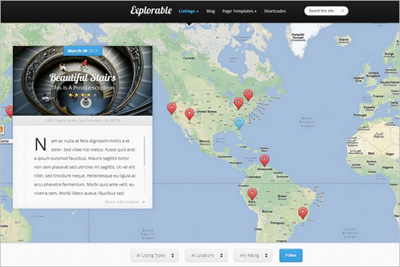 Explorable is a Location Based WordPress Theme