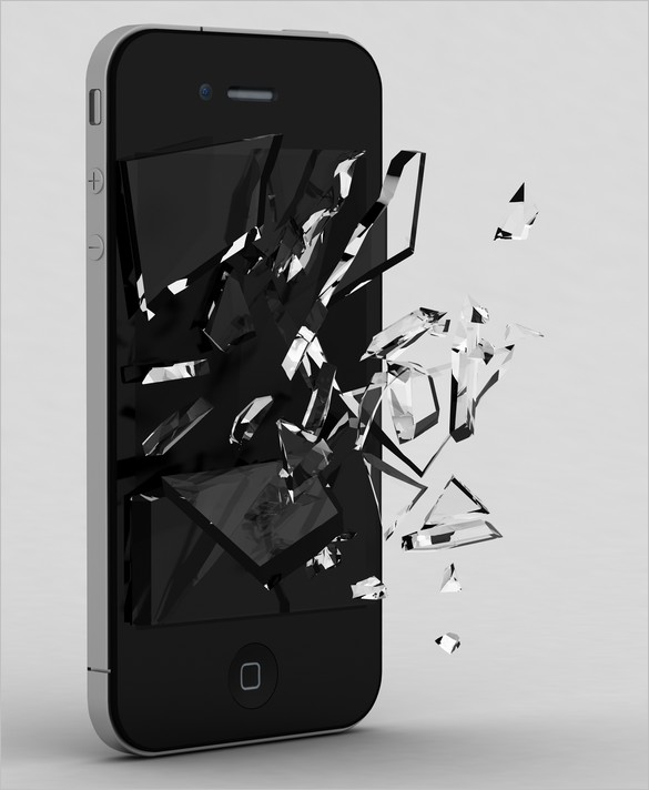 Free files - Smartphone with Broken Glass