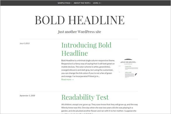 New Free WordPress Themes - Bold Headline