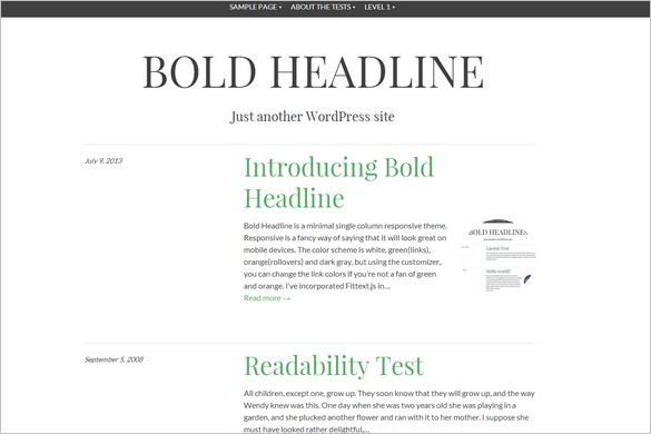 Free WordPress Themes - Bold Headline