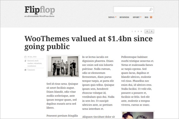 Typography WordPress Themes - Flipflop