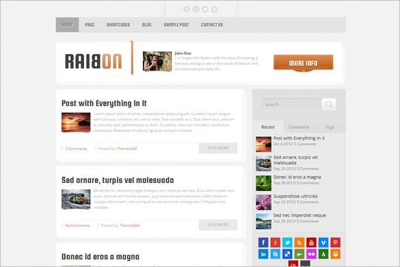 Quality WordPress Premium Themes from Themes4all.com - Raibon