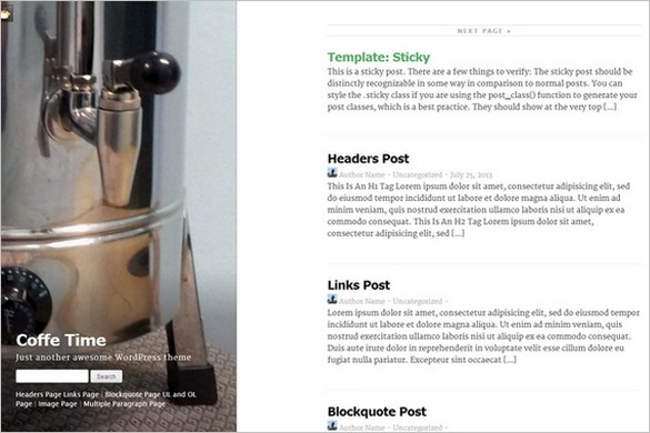 Exceptional Free WordPress Themes - Coffee Time