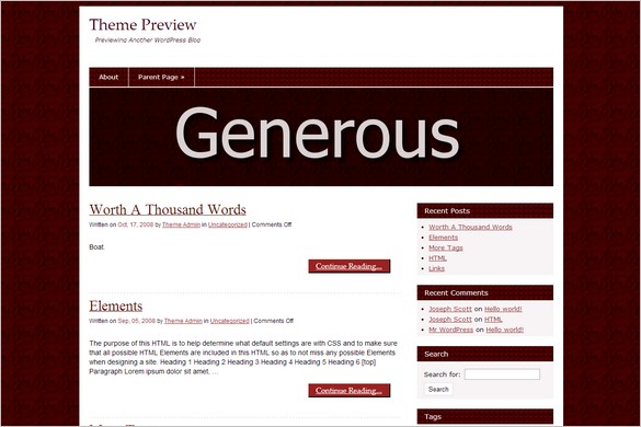 Free Mind Blowing WordPress Themes - Generous