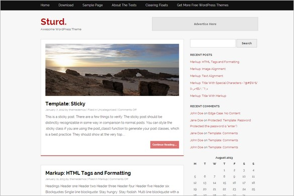 Exceptional and Free WordPress Themes - Sturd