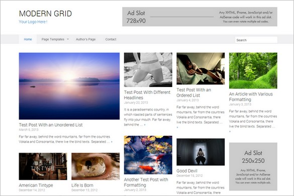 Pinterest Inspired Themes for WordPress - Modern Grid