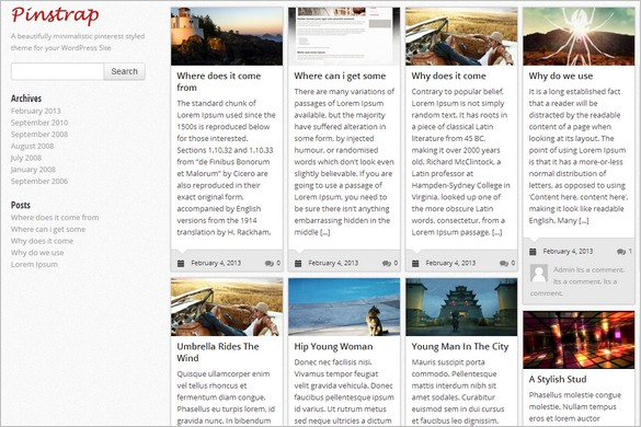 Pinterest Inspired Themes for WordPress - PinStrap