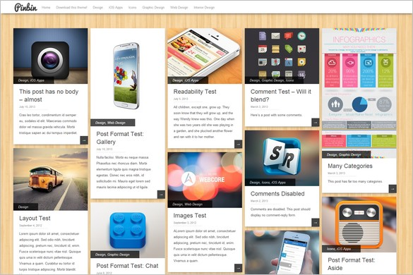 Pinterest Inspired Themes for WordPress - Pinbin