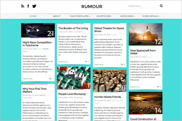 Pinterest Inspired Themes for WordPress - Rumour