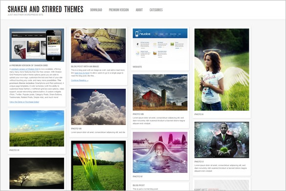 Pinterest Inspired Themes for WordPress - Shaken Grid