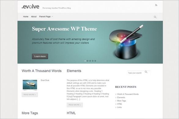 Twitter Bootstrap WordPress Themes - EvoLve