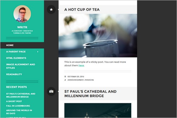 Writr Free Tumblelog WordPress Theme