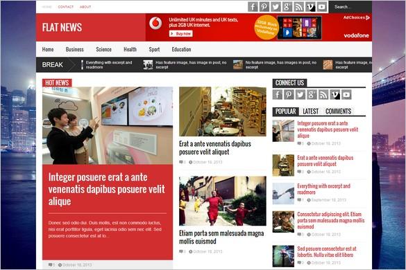 Best News Magazine WordPress Themes - Flat News
