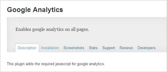 Google Analytics to WordPress -  Google Analytics plugin