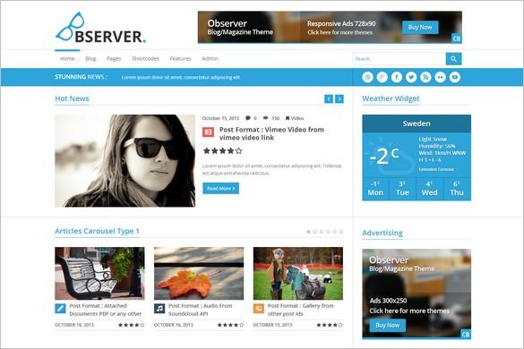 Best News Magazine WordPress Themes - Observer