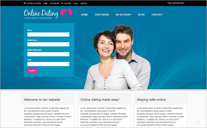 Wordpress template dating site