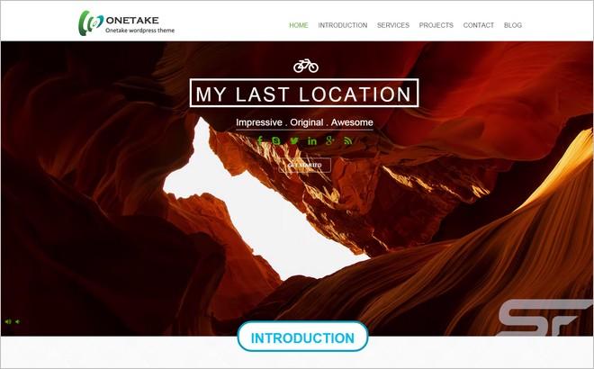 Onetake - A Free One Page WordPress Full Screen Theme