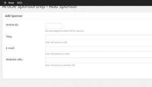 Article Sponsorship Plugin Review - Adding a sponsor via back end