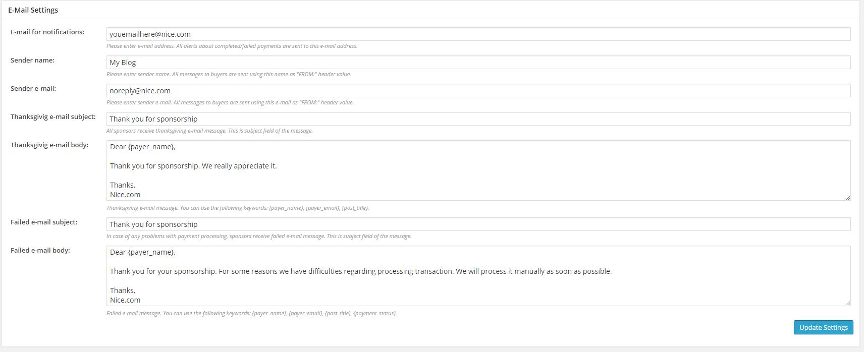 Article Sponsorship Plugin Review - Email settings