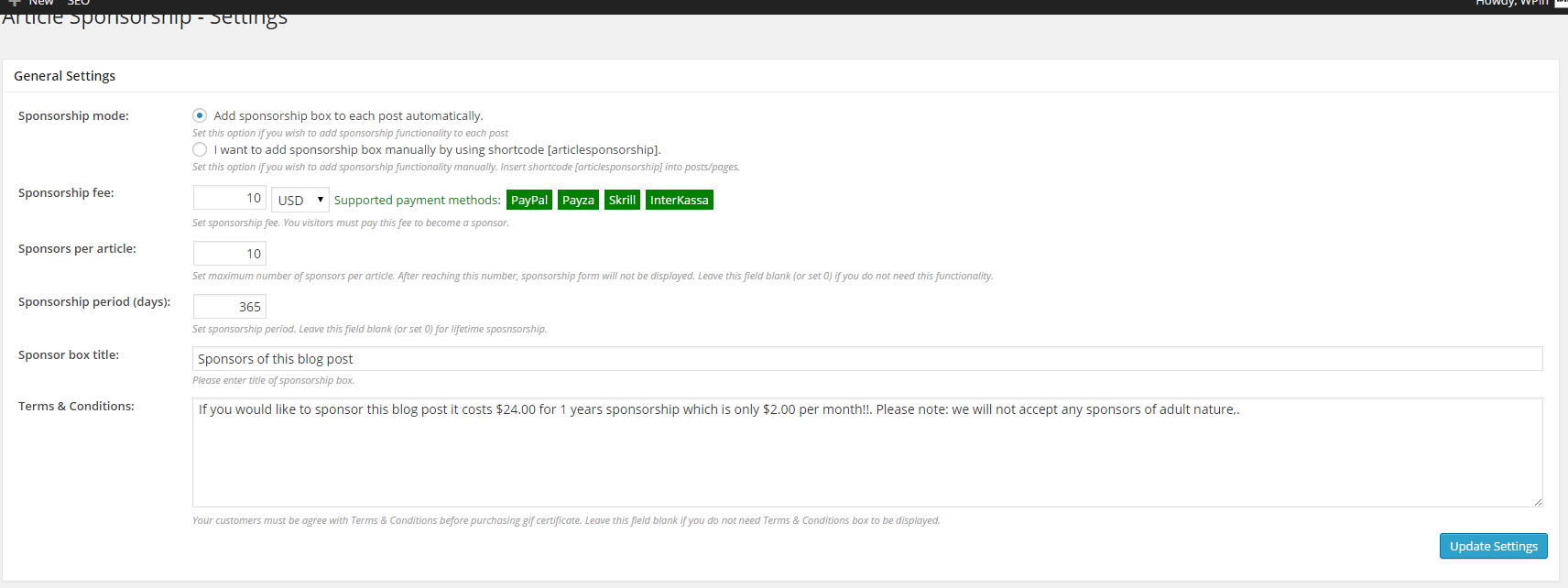 Article Sponsorship Plugin Review - The Settings page