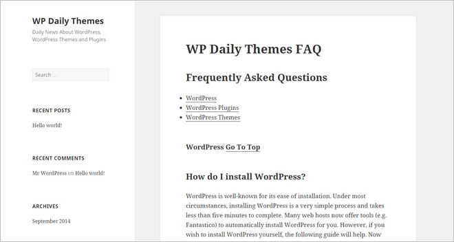 how to add faq list on wp