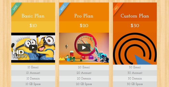 Price Table - A Free HTML & CSS3 WordPress Drag and Drop Price Table Plugin