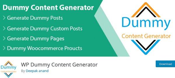 WP dummy content generator