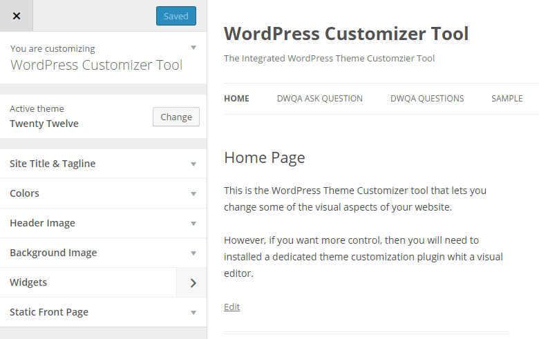 WordPress Customizer Tool